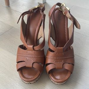 Chloe brown leather wedges. Like new. Size 40